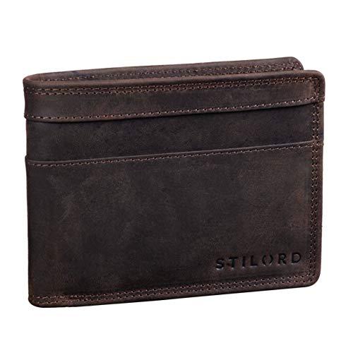 STILORD 'Cooper' Portafoglio Blocca RFID Pelle Uomo Vintage Elegante Sicuro con Portamonete Cuoio Sottile, Colore:marrone scuro