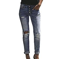 JMETRIC Damen Jeanshose  Slim Fit Jeans Skinny Denim Jeans   Stretch Hosen   Leggings High Waisted Loch Skinny