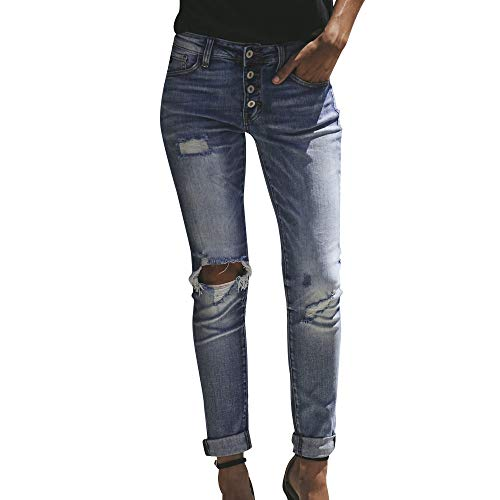 MCYs Frauen Hohe Taille Loch Skinny Denim Jeans Stretch Hosen Hosen Kalb Jeans