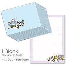 """Briefpapier Set für Kinder Briefblock """"EULEN"""" DIN A5 (liniert 50 Blatt) inklusive 20 passenden Umschlägen / Briefpapier für Kinder / Briefpapier Mädchen"""