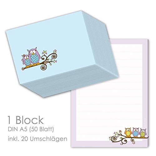 """Briefpapier Set für Kinder Briefblock \""""EULEN\"""" DIN A5 (liniert 50 Blatt) inklusive 20 passenden Umschlägen / Briefpapier für Kinder / Briefpapier Mädchen"""
