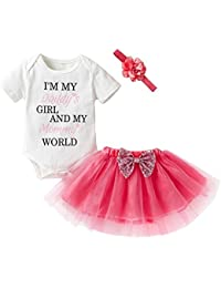 Tutu Skirt+Headbands 3Pcs Clothes Set Ages 0-24 Months Webla Newborn Infant Baby Girl Letter Im My Daddys Girl and My Mummys World Romper 6-12 Month