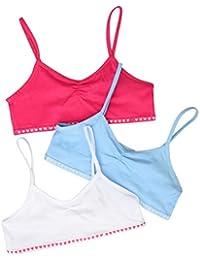 Just Essentials Girls Back to School 3 Pack Cotton Crop Bra Tops