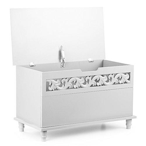 Achat iKayaa Coffre à jouets Grand Coffre de Rangement salle de bain Moderne Banc de Rangement Coffre Banc à Chaussures en MDF Blanc / Bleu 79 X 40 X 48 cm