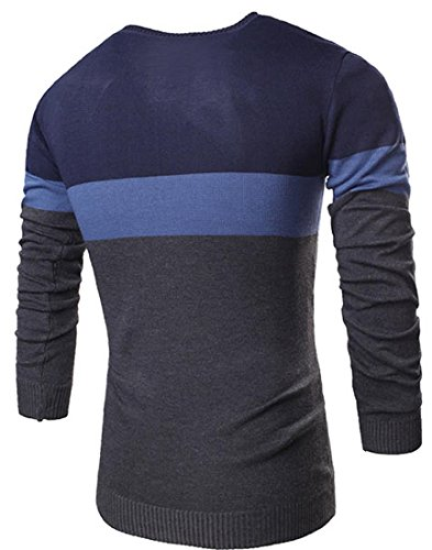 Jeansian Hommes Mode Pull Casual Manches Longues Tricots Men's Fashion Long Sleeves Stripe Knitwear Sweater Shirts Slim Tops 88A4 Navy