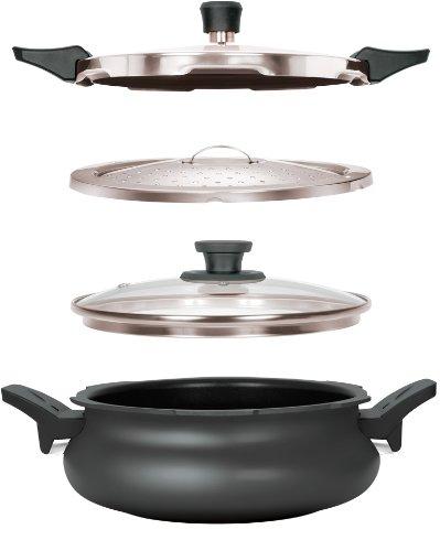 Pigeon Belita Hard Anodized Super Cooker Set, 3 Litres, 4-Pieces, Black