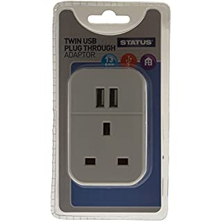Status 2 USB Port Power Adaptor Plug Through - White