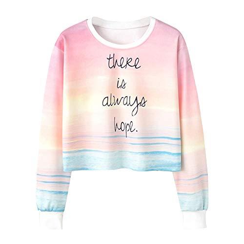 NPRADLA 2018 Herbst Damen Sweatshirt Langarm O-Ausschnitt Bluse Regenbogen Buchstabe Druck