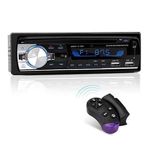 Autoradio Bluetooth, CENXINY 1-DIN Radio Voiture Récepteur avec Lecteur MP3 WMA AM FM, Deux USB Port,Main Libre Stéréo 4 x 65W Soutien iOS, Android
