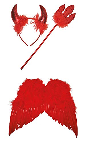 Kostüm Teufel Flügel Rote - Teufel Kostüm Set 3-tlg. 35cm - Klein