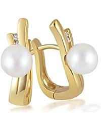 Goldmaid Damen-Ohrringe Süßwasserzuchtperle 375 Gelbgold 4 Diamanten 0,03 ct. Perlohrringe mit Brillianten