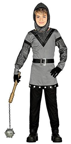 guirma Ritterkostüm Kinder mittelalterlicher Krieger grau-schwarz-Silber - Ritter Kostüm Kinder Jungen (92/104)