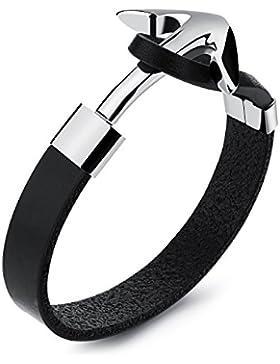 Anker Armband Edelstahl | hochwertiges Leder | Rostfrei ! | Anker Armband schwarz | modisches Accessoire | Kette...
