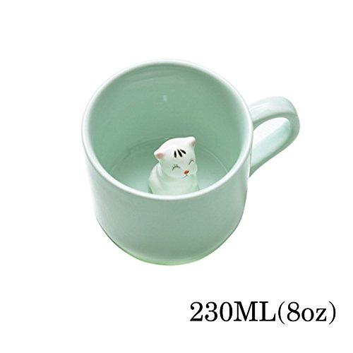 Tier Tee (Kaffee-Milch-Tee-Keramik-Becher - 3D Tier-Morgen-Schale mit Panda Innere beste Geschenk Für Morgengetränk und Hochzeiten, Geburtstage, Vatertag BigNoseDeer (Katze))