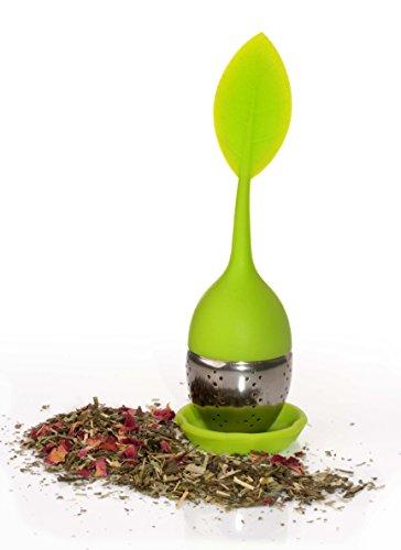 vitasteTM Tee-Ei aus Silikon und Edelstahl - Blatt Design Teesieb grün