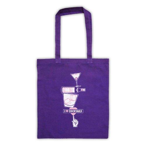 I Love Cocktail Slogan stile borsa Purple