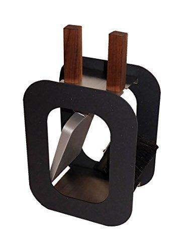 Kaminbesteck Kamingarnitur mit Nussholzgriffen in drei Farben B / H / T - 23/40,5/15 cm by MS Beschläge® (Anthrazit)