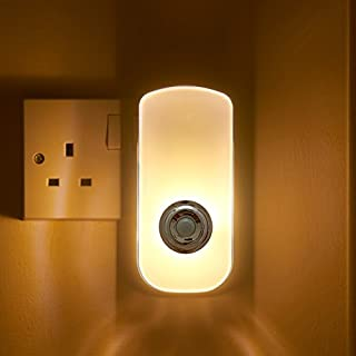 Auraglow Plug in PIR Motion Sensor LED Night Light Hallway Safety Living Aid & Emergency Torch - Warm White