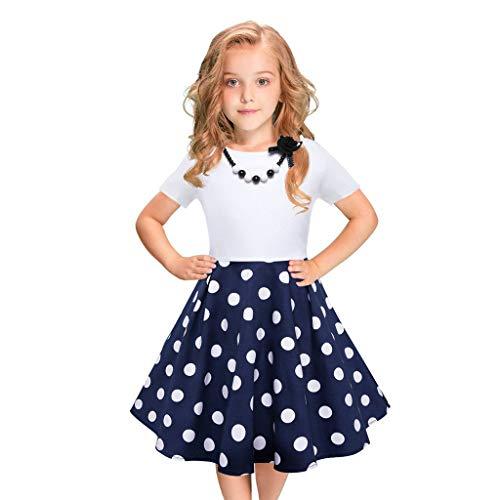 r Punktdruck Prinzessin Kleid Kinder Sommerkleider Vintage Abendkleider Hochzeits Partykleid Festlich Kleider Babybekleidung Riou (8-10 Jahre, Blau) ()