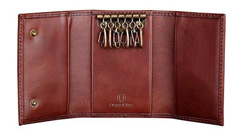 Cronus & Rhea | Custodia in pelle esclusiva per portachiavi di lusso (Janus) | Key Case - Keychain | Vera pelle | Con elegante scatola regalo | Uomini - Donne (Marrone scuro)