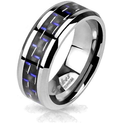 Paula & Fritz® Titanio Anillo Plata Blue Carbon Fiber Inlay disponibles Ring tamaños 60(19)–69(22) R de TM de 3633