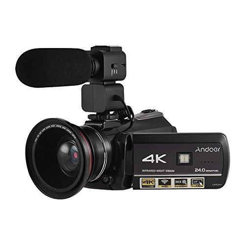 Andoer videocamera digitale ac3 4k uhd 24mp videocamera registratore dv zoom 30x connessione wifi visione notturna ir 3.0 in lcd touchscreen con obiettivo grandangolare extra 0,39x