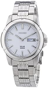 Seiko Herren-Armbanduhr XL Solar Analog Edelstahl SNE091P1