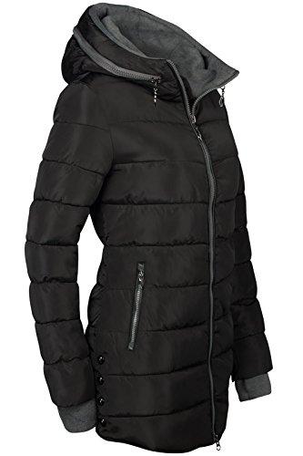 Winter Damen STEPP Mantel LANG Jacke GEFÜTTERT Kapuze ÄRMEL MIT DAUMENSCHLAUFEN, Farbe:Schwarz, Größe:L - 3