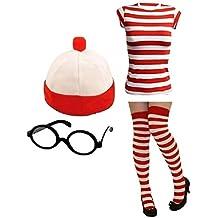 Señoras Mens Wheres Nerd Geek rojo y blanco rayas disfraz infantil de más fresco libro día 3& 4piezas... (–M/L, mujer 4piezas Camiseta + gorro + gafas + calcetines)
