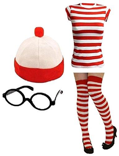 Damen Herren Wheres Nerd Geek Rot & Weiß Gestreift Fancy Kleid Frischer Kostüm Buch Tag 3& 4Stück-Set... (Damen M/L, meine Damen 4Stück T-Shirt + Mütze + Brille + Socken) (Wheres Wally Kostüm Kostüm)