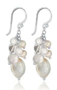 Tuscany Silver Sterling Silver Pearl and Rose Quartz Drop Earrings