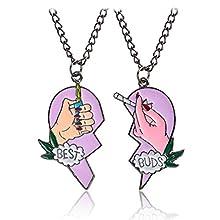 Mingjun 2 Piece Set Heart Pendant Necklace Best Buds Print Cigarette Lighter Partly Heart Shape Necklace Pendant