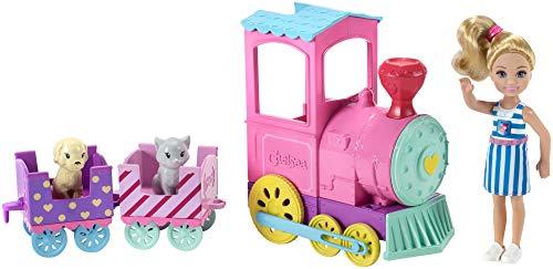 Barbie Famille mini-poupée Chelsea et son Train des Animaux multicolore avec deux wagons et deux figurines de chien et chat, jouet pour enfant, FRL86