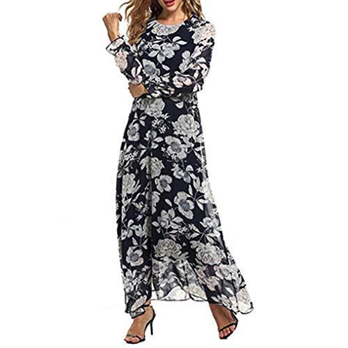 (JUTOO Damen Long Maxi Party Kleid Damen Boho Print Kleid(Schwarz, EU:38/CN:M))