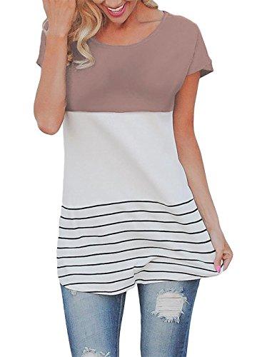 HAOMEILI Damen Kurze Ärmel Color Block Striped T Shirts Kausale Blusen Tops S Kaffee