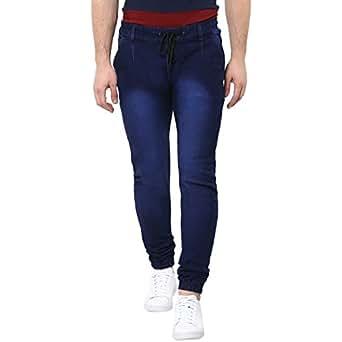 Urbano Fashion Men's Dark Blue Slim Fit Stretchable Jogger Jeans (jog-hps-dblue-28-01)