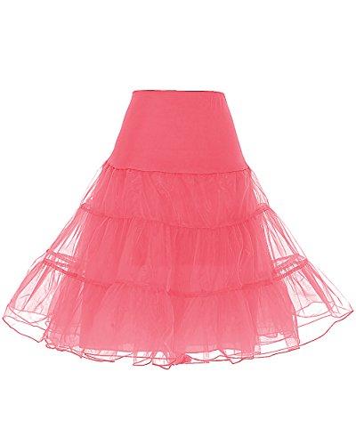 Dresstells Jupon années 50 Vintage en Tulle Rockabilly Petticoat Longueur 66cm/26,Coral L