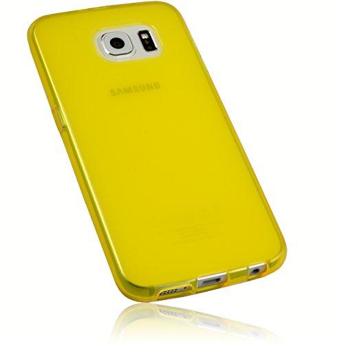 mumbi Schutzhülle Samsung Galaxy S6 / S6 Duos Hülle transparent gelb gold (Slim - 1.2 mm)