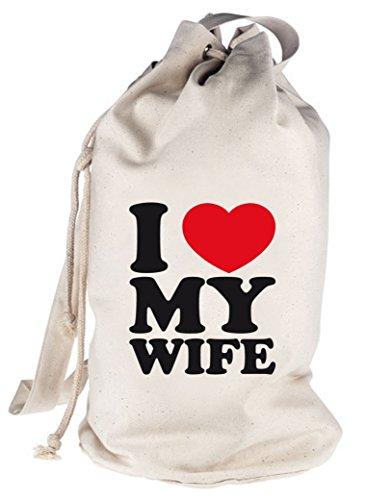 I LOVE MY WIFE, Muttertag Valentinstag bedruckter Seesack Umhängetasche Schultertasche Beutel Bag Natur