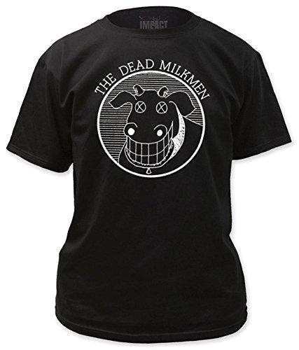 The Dead Milkmen - Cow Logo Black Oben T-Shirt, M - Black (Dead Short T-shirt Sleeve)