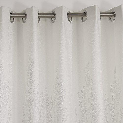 GWELL Elegant Baumblatt Druck Vorhang Blickdicht Schal mit Ösen TOP QUALITÄT Gardine für Wohnzimmer Schlafzimmer grau cream 1er-Pack 160x100cm - 3