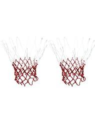 2pcs Blanco Rojo Cuerda De Nylon 12 Loops Anudada A Canasta De Baloncesto De La Red