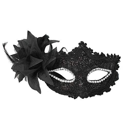 Kostüm Kleid Ball Dance - MONWSE Mode Frauen Sexy Schwarz Spitze Blume Halbe Gesicht Auge Maske Party Dance Ball Maskerade Halloween Phantasie Kleid Venezianischen Kostüme