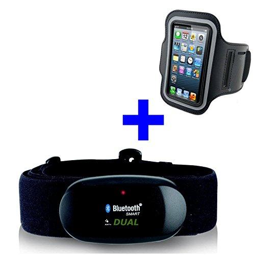 BLUETOOTH 4.0 und ANT BRUSTGURT + ARMBAND iPhone 4S / 5 / 5C / 5S / 6 / 6S / SE / 7 / 7S / 8 / X für RUNTASTIC, WAHOO, STRAVA App, Herzfrequenzmesser