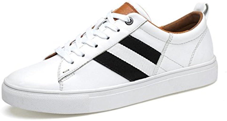 Zapatos de Hombre de Cuero Genuino de Invierno Zapatillas Deportivas de Goma Casuales con Cordones de Fitness...
