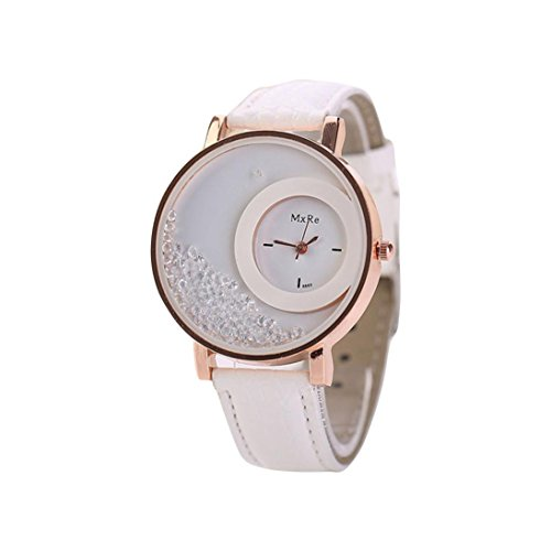 Uhren DELLIN Frau Leder Quicksand Strass Quarz Armband Armbanduhr Uhr (Weiß)