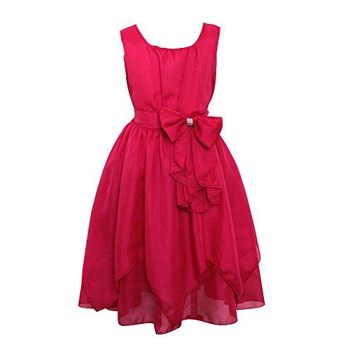 LSERVER Mädchen Sommer Kleid mitSchleife-Deco, Pink, Gr. 104/110(Herstellergröße: 110)
