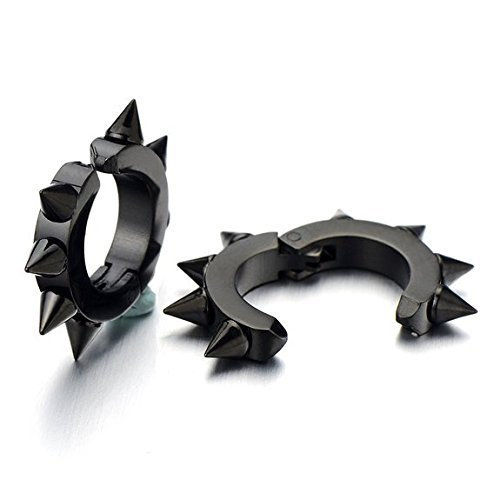 Pair of Black Spike Huggie Hinged Hoop Earrings Non-Piercing Clip On Earrings for Men Women