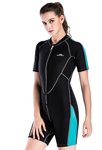 Lovache Tauchanzug Damen Shorty 2MM Neopren UV Schutz Surfanzug Neoprenanzug Kurzen Ärmeln Einteiler Badeanzug mit Bein und Reißverschluss