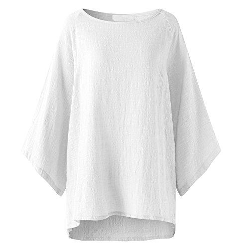 MRULIC Damen Leinen Gemütlich Leinen Dünnschnitt Lose langärmelige Bluse T-Shirt...